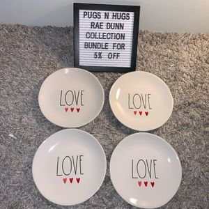Rae Dunn Set of 4 Love Plates